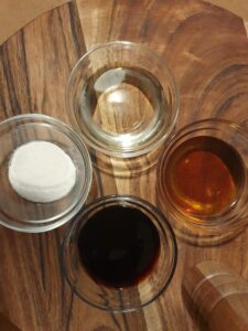 Soy Sauce, Mirin. Sesame Oil, Cornflour