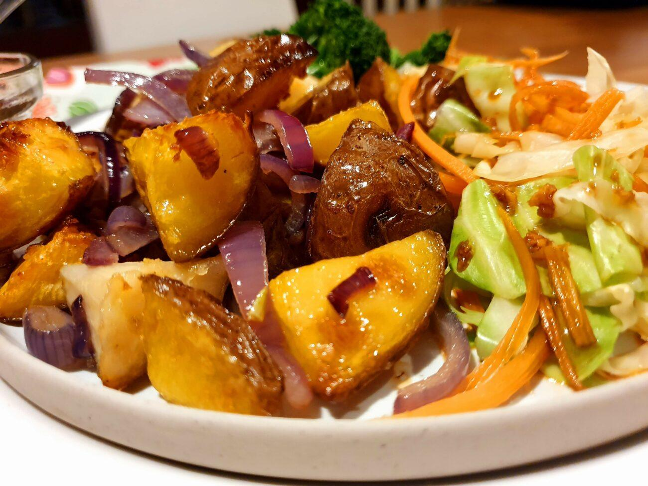 Stir fry Cabbage and Roast Potatoes